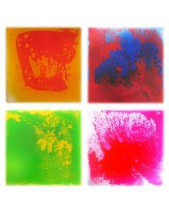 Snoezel vloertegel - set van 4 vloeistof vloertegels, 4 kleuren, 30x30 cm