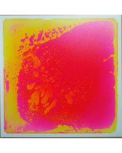 Snoezel vloertegel - geel met roze vloeistof, 50x50 cm, set van 6