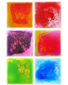 Snoezel vloertegel - set van 6 vloeistof vloertegels, 6 kleuren, 50x50 cm