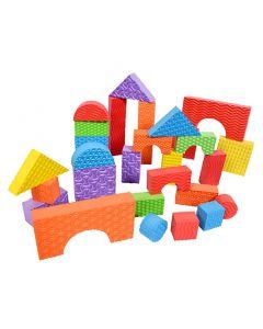 Gekleurde schuim blokken in verschillende vormen