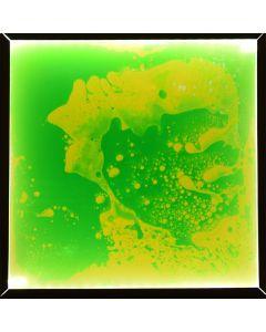 Snoezel vloertegel - groen en gele vloeistof met LED verlichting 50x50 cm